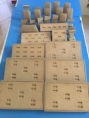 Lot of 29 pcs JEWELRY Store Earring, Rings DISPLAY TRAYS Faux Ostrich/Suede  (29