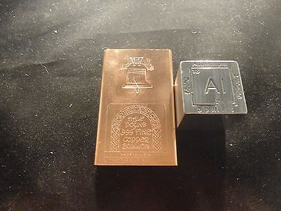 METAL COMBO- 1- 1/2 lb  COPPER BAR & 1 - 3 OZ. ALUMINUM CUBE/SQUARE - 2 PC TOTAL