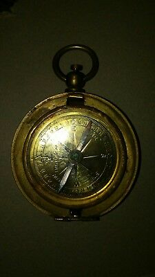 Brass Stanley London  Compass. push button- lid missing