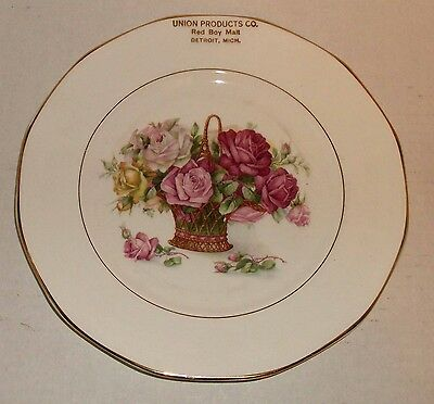 """ANTIQUE Advertising BEER / RED BOY MALT 9"""" PLATE UNION PRODUCTS CO. DETROIT MI"""