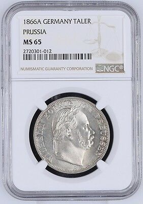 1866A GERMANY, PRUSSIA, Taler, NGC MS-65