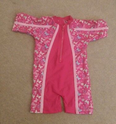 Girls Pink 9-12 months Swimming Costume Swimsuit - Gorgeous Butterfly Pattern