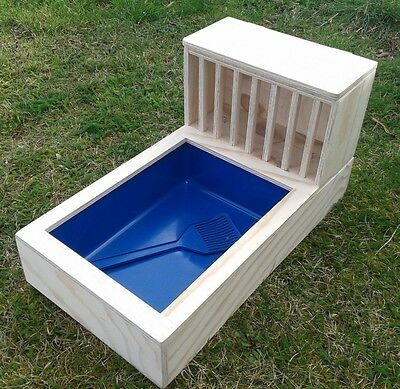 Large pine plywood Rabbit Hay feeder rack + litter tray included