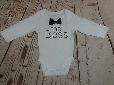 new born baby boy vest bodysuit THE BOSS outfit size 0-1m F