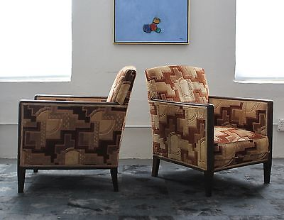 Vintage Pair of French Art Deco Club Lounge Chairs
