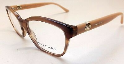 BVLGARI 4115 5240 Horn Beige Gold Cat Square Eye Woman Eyeglasses Italy BE27/21