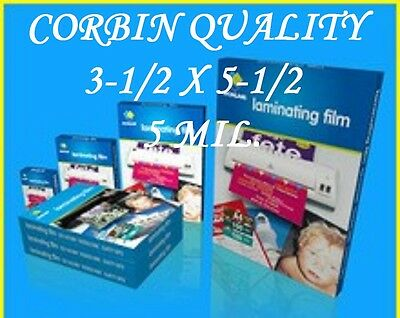 3 X 5 Laminating Pouches Sheets Index (100 PACK) 3-1/2 x 5-1/2  5 ML