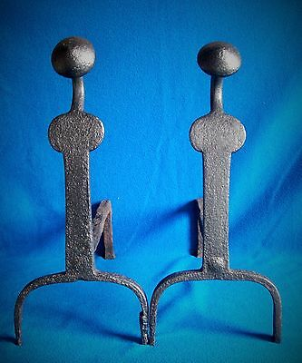 ANTIQUE WROUGHT IRON FIRE DOGS 18th CENTURY ANDIRONS