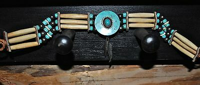 Vintage Native American Beaded Ceremonial Choker Turquoise Feathers Leather