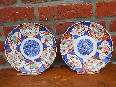 Pair antique Imari porcelain japanese plates. XIXth C...Japan  Asia