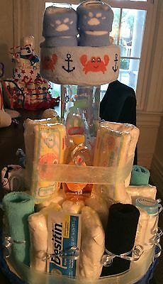 THREE  baby shower diaper cakes for boys
