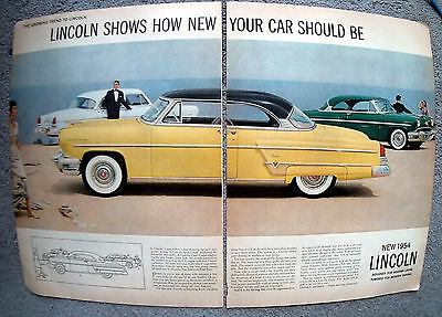 1954 Lincoln Capri Sports Coupe 4 Door Sedan Original 2 Page 13.5 * 10.5 Mag Ad