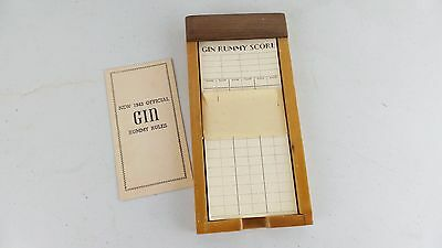 Vintage Gin Rummy Score Card Notepad with wood box and 1943 Rules Book