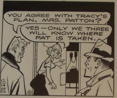 """Original Comic Strip Art Dick Tracy Dec 14, 1982 ,""""You Agree With Tracy's Plan"""""""