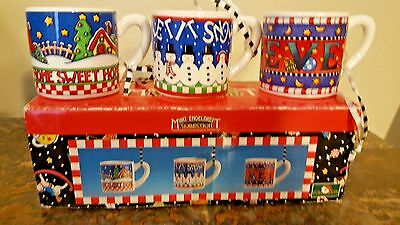 Mary Engelbreit Ornaments Christmas Small Cup Cug Oraments Lot of 3 NOS