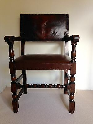 1920s carver chair english oak  with leather upholstered seat and back