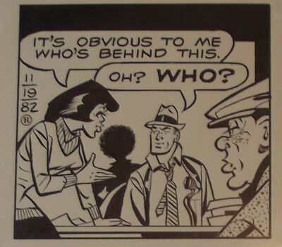 Original Comic Strip Art Dick Tracy Nov 19 1982  It's Obvious To Me Who's Behind