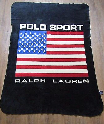"VINTAGE 90S POLO SPORT throw blanket FLAG LOGO USA MADE 45""X 64"" RALPH LAUREN"