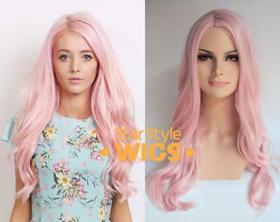Deluxe Long Pastel Pink Wavy Heat Resistant High Fashion Celebrity Wig