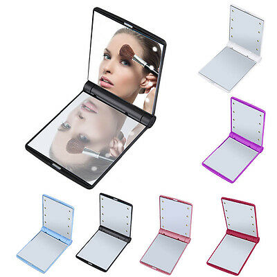 LED Light Foldable Illuminated Make Up Cosmetic Flip Beauty Vanity Mirror Travel