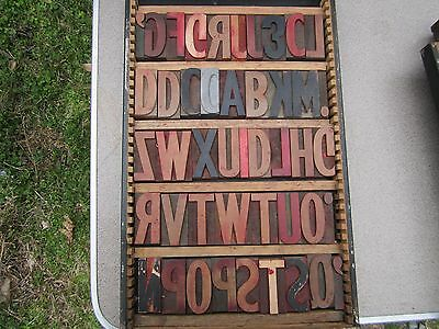 79 pieces (in two drawers)  of Vintage 3 inch Wood Block letter press type