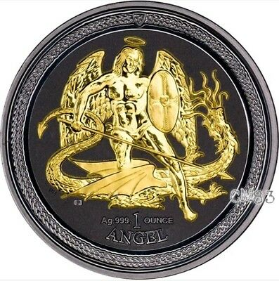 """2016 1 Oz Silver """"ISLE OF MAN"""" 1 Angel Shade of Enigma Coin WITH 24K Gold Gilded"""