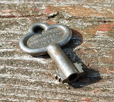 ANTIQUE EAGLE LOCK Co. 6 or 8 Lever OPEN HOLLOW BARREL Padlock KEY no. 86V12