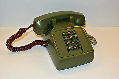 Vintage Avocado Green & Red Cord 1980s Northern Electric Desk Touch Tone Phone