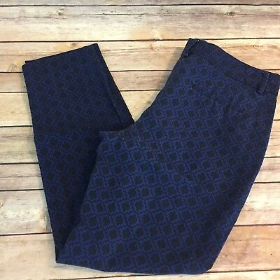 Katherine Barclay Women's Cropped Pants Size 10 Blue Printed #146