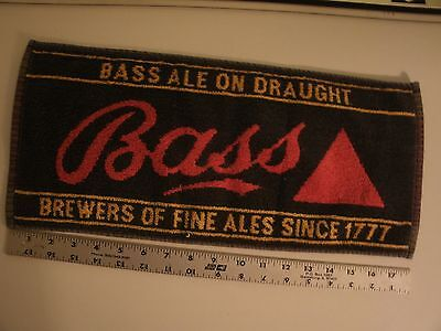 "Vintage Barware Advertising Bass Ale On Draught Bar Towel 8"" X 17"""