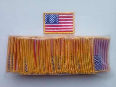 "50 USA American Flag (G) iron-on Embroidered Patches 3""x2"""