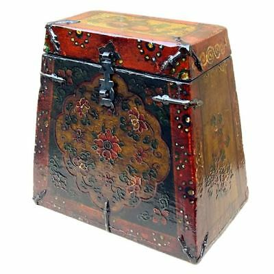 Beautiful Embossed Antique Tibetan  Tsampa Box (22-043C)