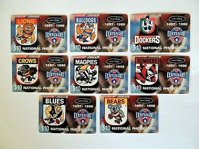 CARD PHONE $10 1996 AFL CENTENARY X 16 teams