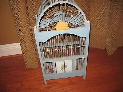"24"" Vintage Shabby Chic Wood & Wire Blue Birdcage Great Buy!!"