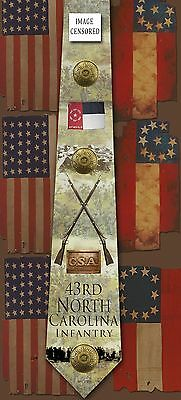 New 43rd North Carolina Infantry poly satin neck tie