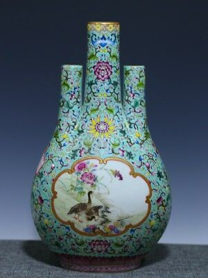 China Exquisite Hand Painted duck flowers pattern porcelain Three mouth vase