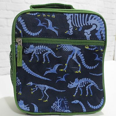 Pottery Barn Kids Insulated Lunch Box bag Navy Blue Green DINOSAUR fossil