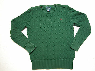 Ralph Lauren Childrens Boys Green Cable Knit Pullover Sweater L14-16 100% Cotton