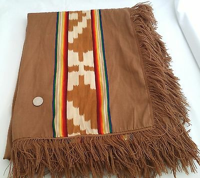 Vintage South Central American Poncho Wool Fringe Woven Handmade