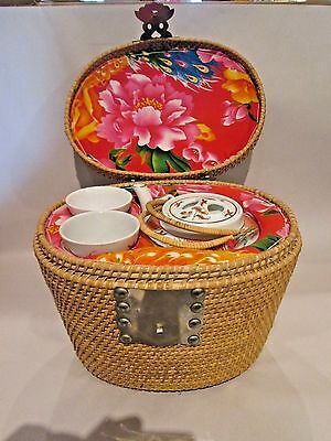 Chinese Porcelain Teapot & 2 Cups Set in Fitted Interior Wicker Basket