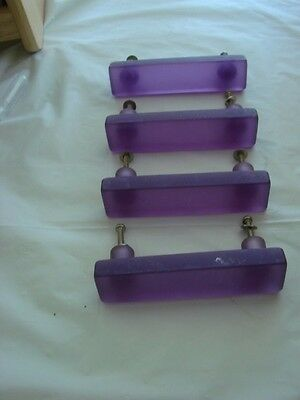 Frosted Mid Century Lucite Drawer Pulls - Purple - 4
