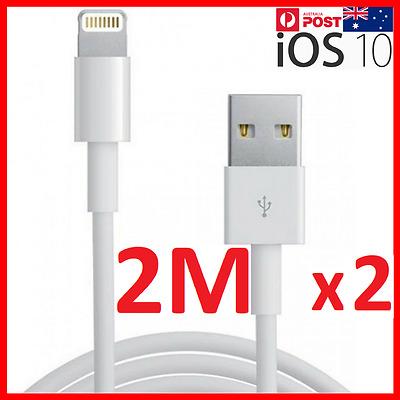 2m x 2 Lightning Data charging Cable for iPhone 5 S C 6 7 Plus iPad iPod USB 2x