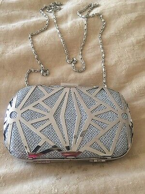 JNB Silver Clutch Evening Bag With Removable Strap