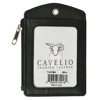 Cavelio ID Printed Lanyard Leather Badge Holder with Neck Strap (Black) New