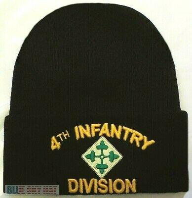 cb1cac98d11 US ARMY 4th IV INFANTRY DIVISION IVY LEAVES IRON HORSE KNIT BEANIE WATCH CAP  HAT