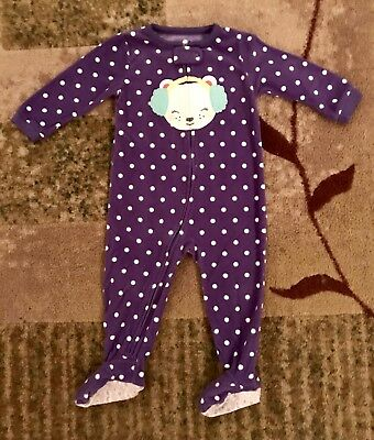 Carter's Baby Girls Fleece Purple & White Footed Pajamas, Size 18 Months