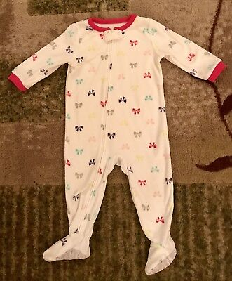 Carter's Baby Girls Fleece White W/ Multicolor Bows Footed PJ's, size 18 Months