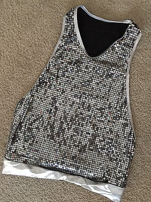 Gia Mia Dance Tank Top Size Large LC Silver Sequins Open Side Racerback