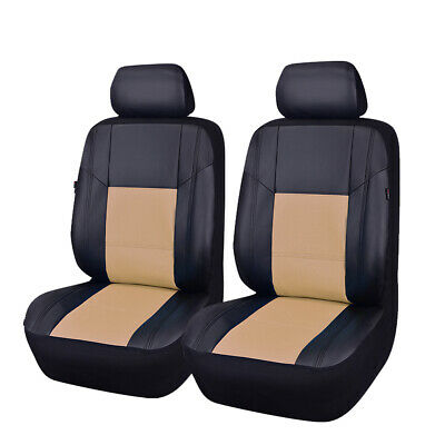 NEW ARRIVAL Universal PU Leather Two Front Black with Beige Car Seat Covers Sets