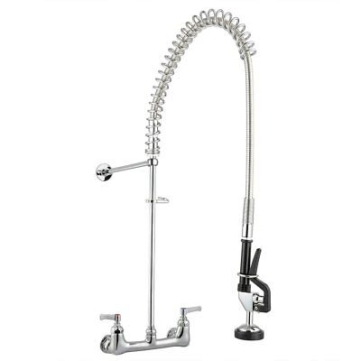 """Wall Mounted Swivel Spout 8"""" Center Pre-Rinse Kitchen Faucet Chrome High Quality"""